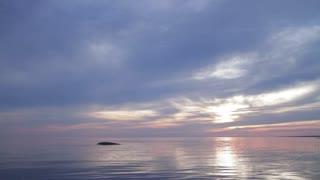 Purple minimalistic sky and sea
