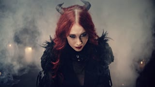 Sensual gothic girl with horns, Halloween theme
