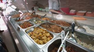 Set of japanese food under showcase