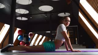 Sexy woman doing push ups in the gym with a ball