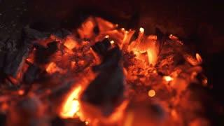 Smoldering ashes of bonfire