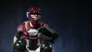 Baseball player catch a ball