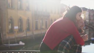 Couple in love having fun in Venice