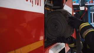 Fire and rescue Equipment in Fire Engine.