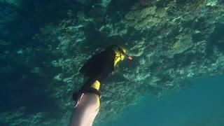 Freediver woman underwater