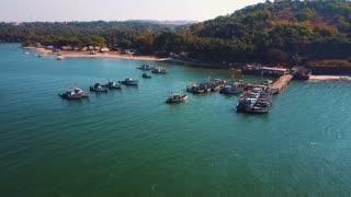 Indian fishing boats, top view