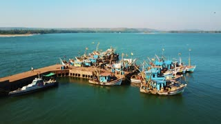 Indian fishing port boats from top