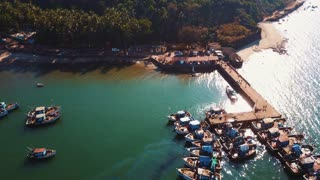 Indian fishing port from drone