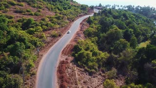 Indian road with red sand, drone shot