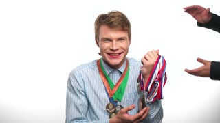 Man with medals on a white background