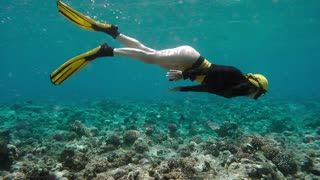 Pretty Free diver diving through coral reef in sea