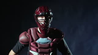 Teenage baseball player in helmet