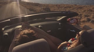 The happy lovers in the cabriolet