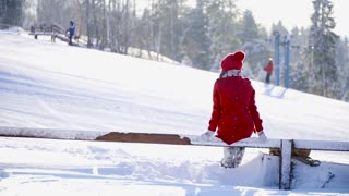 Young people in love hugging and posing ski resort