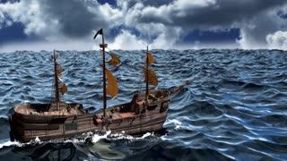 Pirate Ship on a wild ocean