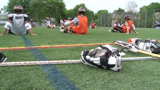 Boys Lacrosse players sitting on the field(3 of