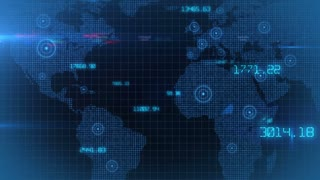 Business financial corporate data network world map background loop 01