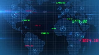 Business financial corporate data network world map background loop 02