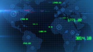 Business financial corporate data network world map background loop 03