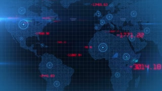 Business financial corporate data network world map background loop 04