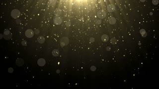 Particles gold glitter bokeh award dust abstract background loop 15