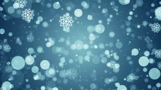 Particles blue snow snowflake winter abstract light bokeh motion titles cinematic background vj loop
