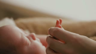 adult holding a baby hand