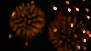 slowmo fireworks in bokeh