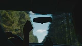 Young women dancing in the car