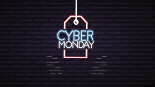 cyber monday neon lights animation with tag hanging ,4k video