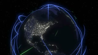 Cyberspace  Network Communications Technology.  Eye-catching light streaks circumnavigating earth that can represent: internet traffic, satellite orbits, data sharing, company reach, ect.