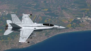 F-18 Fighter Jet Flying Over Eastern Europe