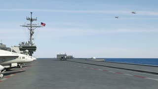 F-18 Fighter Jets Launch From Aircraft Carrier (CGI)