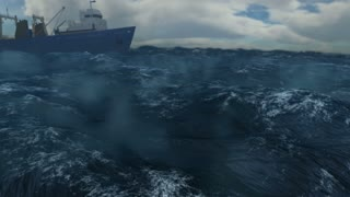 Fishing Trawler on Rough Seas (CGI)