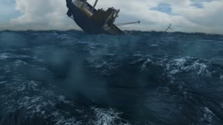 Fishing Trawler Sinking in Rough Seas