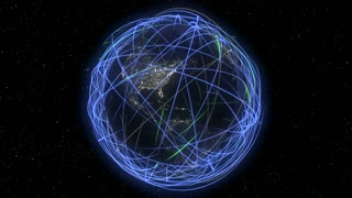 Internet Cyberspace Global Data Web Communication.  Eye-catching light streaks circumnavigating earth that can represent: internet traffic, satellite orbits, data sharing, company reach, ect.