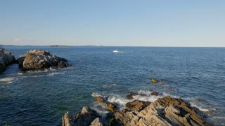 Maine Scenic Lighthouse and Lobster Boat