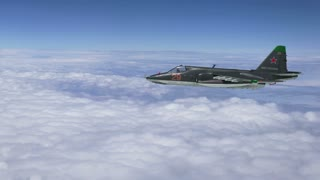 Russian Su-25 (Frogfoot)  Flying.  Highly-detailed, quality CGI