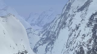 Snow Covered Mountains Fly-Through.  High-quality realistic CGI animation.