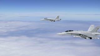 Two F-18 Fighter Jets Cruising Above the Clouds (CGI)