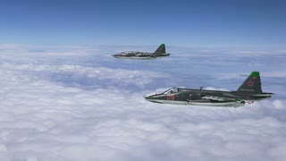 Two Russian SU-25 Fighters Flying.  Highly-detailed, quality CGI
