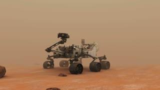 Mars Rover on the Dusty Red Planet.  A highly-detailed accurate 3D animation of the mars rover Curiosity on the red planet, Mars.