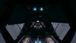 Mysterious Long Dark Sci-fi Corridor