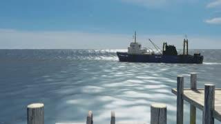 Tsunami Strikes Harbor Capsizing Boat.  High-quality, detailed VFX (3d animation).