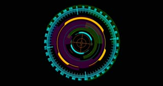 A digital high tech rotating compass with rotating telescopic sight which includes strong visual and color effects. Perfect music video background designed in stunning 4K.