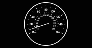 Speedometer going to max speed through the gears and limiting at 160mph, Black and white.