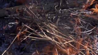 Big wooden log burning in the brazier with red flame in super slow motion. Close up high-speed camera view