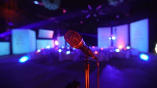 Microphone on stage at a concert venue 1