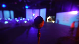 Microphone on stage at a concert venue 2