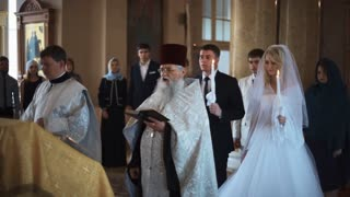 SAINT-PETERSBURG - JUL 25: Traditional orthodox church wedding